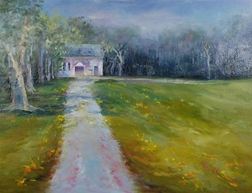 """Dandelion Lane, 11 x 14 OIL, Landscape"" original fine art by Donna Pierce-Clark"