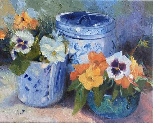 """Jar and Vase of Pansies"" original fine art by Jean Fitzgerald"