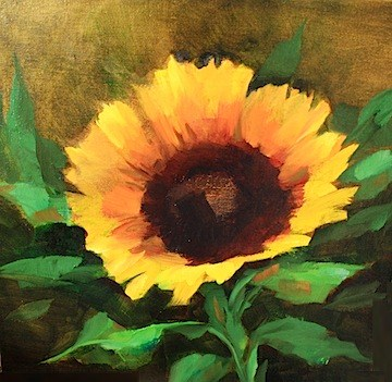 """Ready for Takeoff Sunflower by Nancy Medina"" original fine art by Nancy Medina"