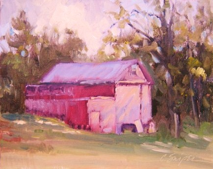 The Red Barn original fine art by Connie Snipes