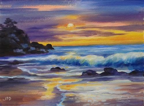 """Sunset, Oregon"" original fine art by Jean Pierre DeBernay"