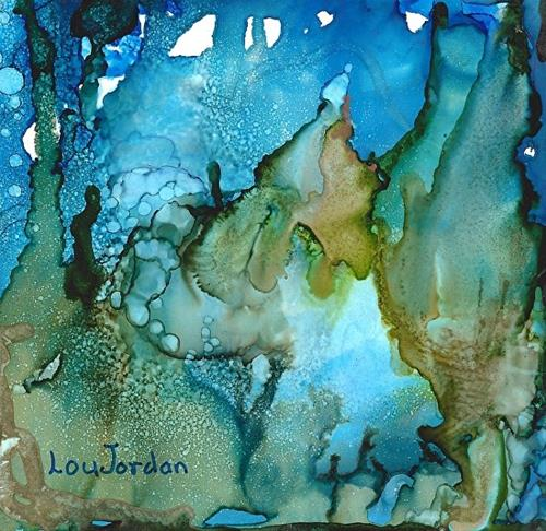 """Original Abstract Expressionism, Alcohol Ink Painting Undersea Garden II by New Orleans Artist Lou"" original fine art by Lou Jordan"