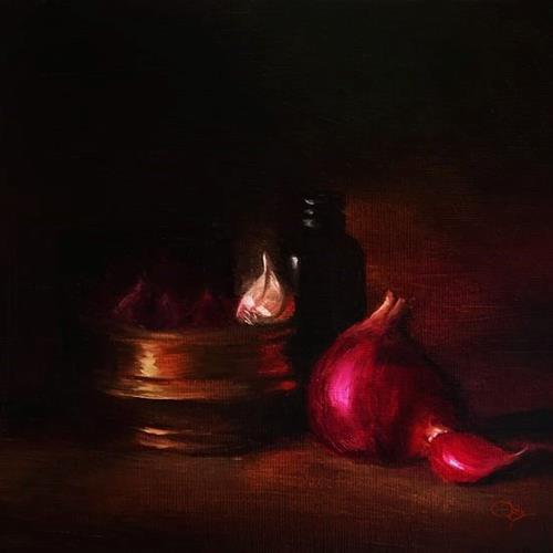 """onion with brass"" original fine art by David Cochin"