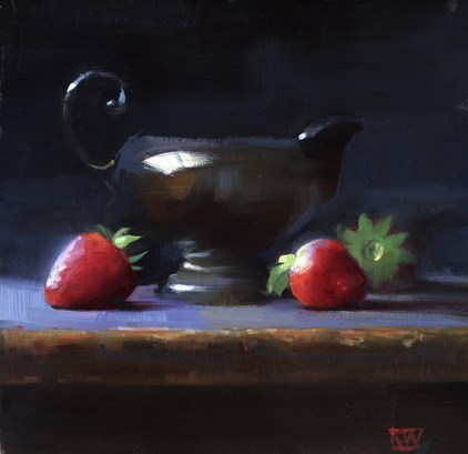 """Silver and strawberries"" original fine art by Kathy Weber"