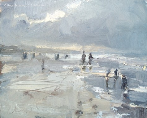 """Seascape winter 16 Just before the blizzard (available)"" original fine art by Roos Schuring"
