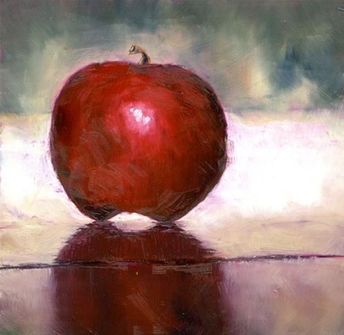 """Apple on White"" original fine art by Eileen Hennemann"