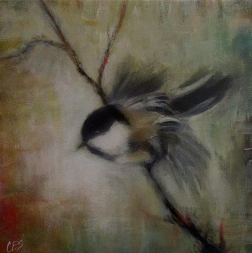 """Chickadee Lift Off"" original fine art by ~ces~ Christine E. S. Code"