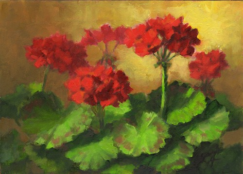 """Geraniums in Bloom"" original fine art by Linda Jacobus"