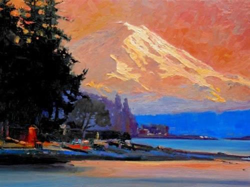 """Mount Rainier Sunset view from Point White. landscape, oil painting by Robin Weiss"" original fine art by Robin Weiss"