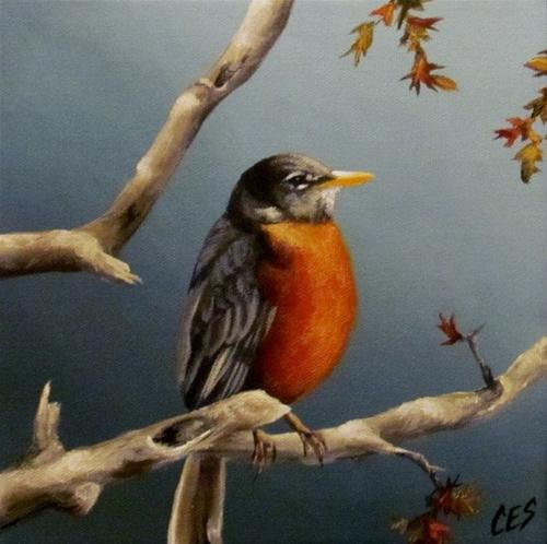 """Little Robin Redbreast"" original fine art by ~ces~ Christine E. S. Code"