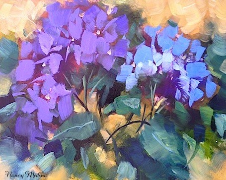 """Herb Garden Blue Hydrangeas by Texas Flower Artist Nancy Medina"" original fine art by Nancy Medina"