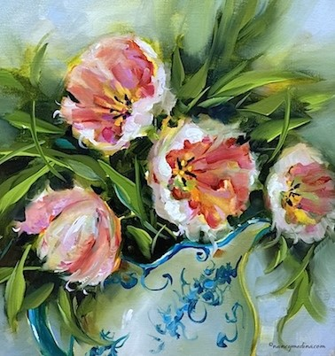 """A San Diego Workshop and Confectioners Sugar Pink Tulips - Flower Painting Classes and Videos by Nancy Medina"" original fine art by Nancy Medina"