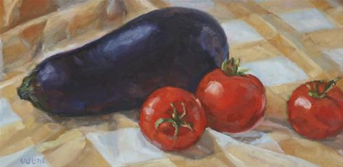 Eggplant and Tomatos original fine art by Catherine Gillespie