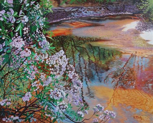 """Laurel Blooming on Econfina Creek"" original fine art by Alan Mintz"