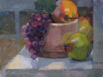 """Fruity Demo__still life, fruit, grapes, pears"" original fine art by V.... Vaughan"