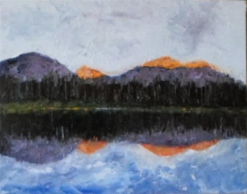 """8 x 10 inch oil Mountain Reflection"" original fine art by Linda Yurgensen"