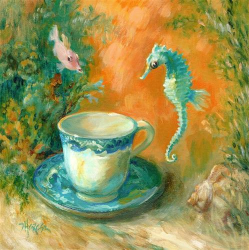 """Tea with Davy Jones "" original fine art by Theresa Taylor Bayer"