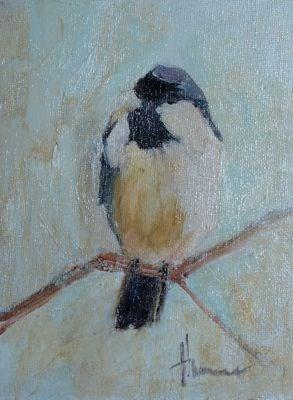 """Chickadee"" original fine art by Susan Hammer"