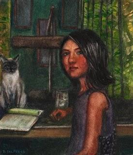 """Watercolor: Help with Homework"" original fine art by Belinda Del Pesco"