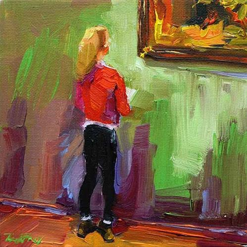"""""""junge Kunstliebhaberin, besuch beim Rembrandt 6"""" original fine art by Jurij Frey"""