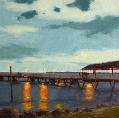 """Night Sky over the Pier"" original fine art by Laurel Daniel"