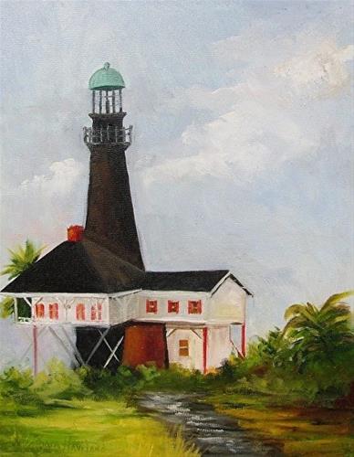 """Port Bolivar Lighthouse  II"" original fine art by Barbara Haviland"