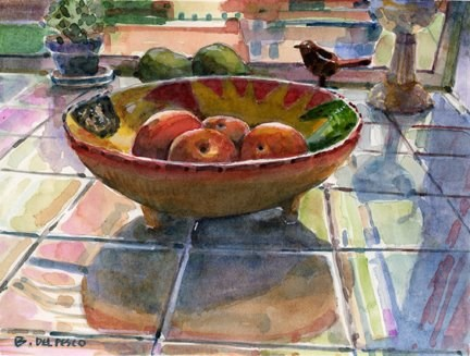 """Watercolor: Peaches in a Mexican Bowl (& video demos from great artists)"" original fine art by Belinda Del Pesco"