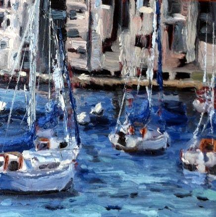 Boston Harbor and 6 squared show original fine art by Kristen Dukat