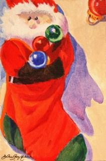 """Santa Sock"" original fine art by JoAnne Perez Robinson"