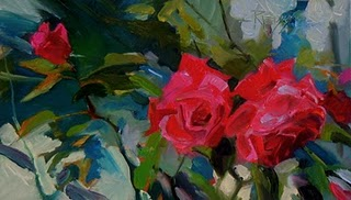 """Three Red Roses  flower oil painting, roses"" original fine art by Robin Weiss"