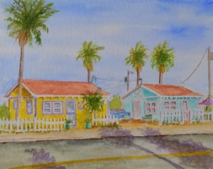 """Beach Bungalows"" original fine art by Robert Frankis"