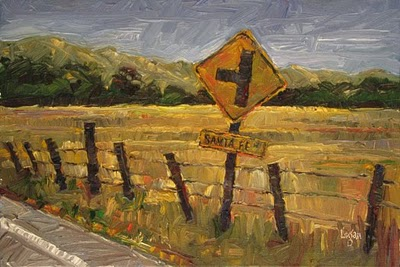 """Turn Left at Santa Fe Road"" original fine art by Raymond Logan"