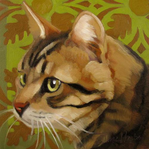 """Fall Cat autumn colors leaves green"" original fine art by Diane Hoeptner"
