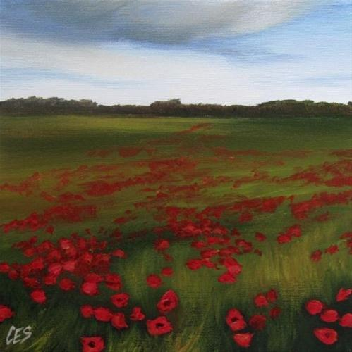 """Rain Clouds Over The Poppy Field"" original fine art by ~ces~ Christine E. S. Code"