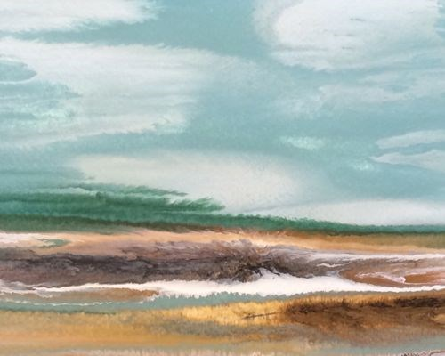 """Abstract Seascape Painting A Day at the Gulf -Study #6  by Colorado Contemporary Artist Kimberly C"" original fine art by Kimberly Conrad"