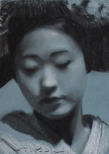 """Katsunosuke Charcoal Study"" original fine art by Phil Couture"