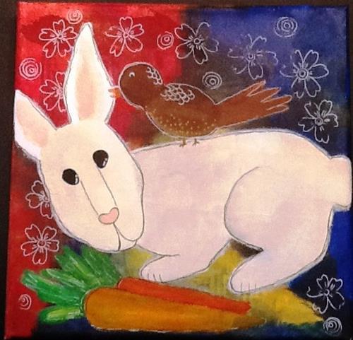 """""""RABBIT GETS A MESSAGE"""" original fine art by Cindy Zoglmann"""