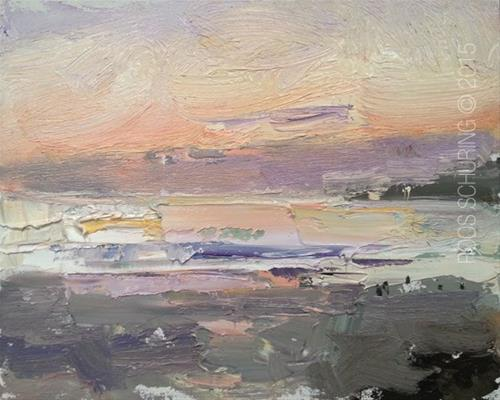 """YAY Cali Series Begins with Seascape ""After Sun Has Gone Down"""" original fine art by Roos Schuring"