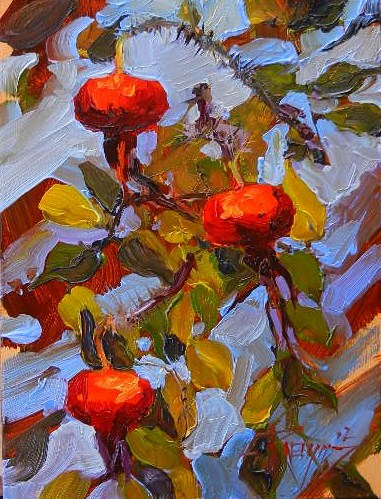 """Three Rose Hips oil painting by Robin Weiss"" original fine art by Robin Weiss"