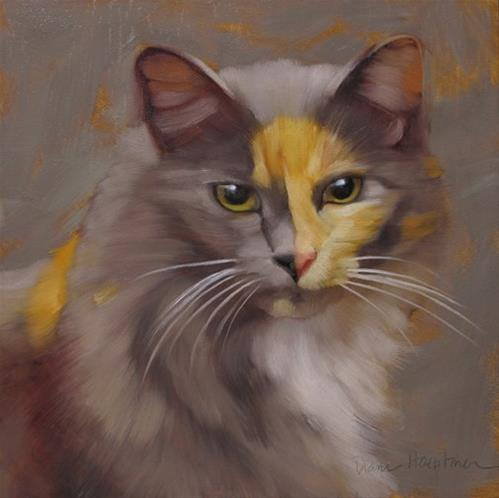 """Hilda long hair gray, yellow, orange cat painting"" original fine art by Diane Hoeptner"