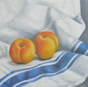 """Apricots on french tea cloth"" original fine art by Pera Schillings"