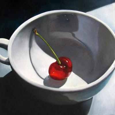 """Cup and Cherry   6x6"" original fine art by M Collier"