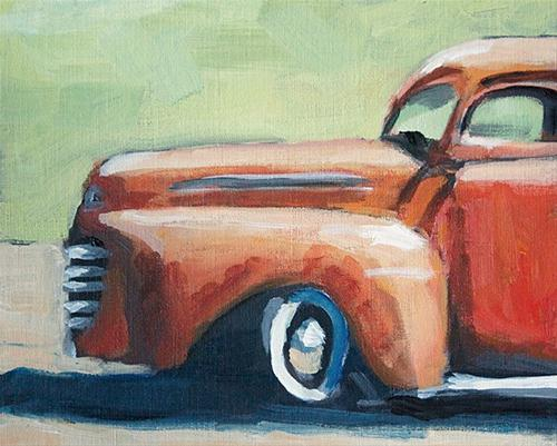 """Red Truck Green Background"" original fine art by J. Farnsworth"