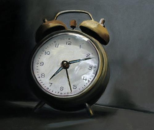 """Alarm Clock pastel painting"" original fine art by Ria Hills"