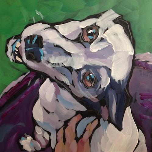 """Lanesboro Pup"" original fine art by Kat Corrigan"