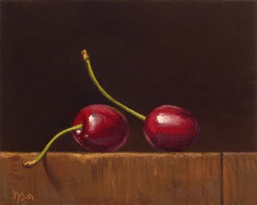 """Two Cherries"" original fine art by Abbey Ryan"