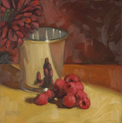 """Giving you the raspberries 6x6  oil"" original fine art by Claudia Hammer"