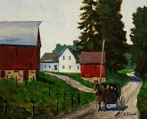 """Passing The Garber Farm"" original fine art by Steve Gibson"