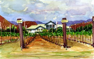 """Watercolor: Agua Dulce Vineyards"" original fine art by Belinda Del Pesco"