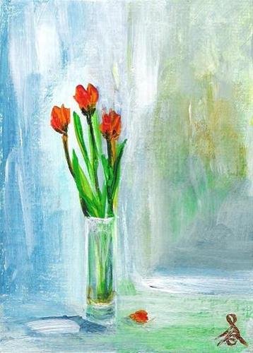 """3070 - Framed - 3 SPRING TULIPS - ACEO Series"" original fine art by Sea Dean"